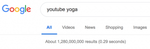 YouTube Yoga Google search results